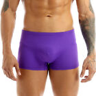 US Mens Lingerie Ice Silk Breathable Boxer Briefs Stretch Shorts pouch Underwear