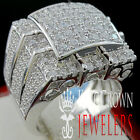 Mens 10K White Gold Over Real Silver Big Bold Simulated D...