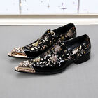 Mens New Metal Pointed Toe Leather Splice Floral Slip On Low Top Dress Shoes Sz