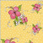 Loralie Lady Luau Flower Fabric Toss Yellow Quilting 100% Cotton FQ BTHY BTY