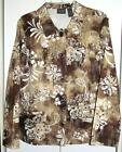 Chico's Additions Brown White Floral Cotton Button Front Jacket Size 2 Large