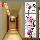 DIY Full Diamonds Embroidery Triptych flowers roses vertical version Round