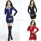 New Women Lace V-neck Long Sleeve Party Clubwear Slim Mini Dress Cocktail CYBD01