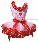 MY 1ST Mother Day Heart Light Pink Top Minnie Satin Trim Girls Skirt Set NB-8Y