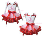 My 1ST Birthday White Cotton Top Pink Minnie Satin Trim Girls Skirt Outfit NB-8Y