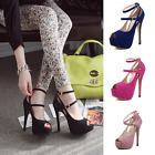 New Women's Platform Open Toe Shoes Ankle Strap Wedding High Heels Pumps Shoes