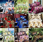 Flower Design Duvet Cover Flat Sheet & Pillowcases Bedding Set Single Queen Size