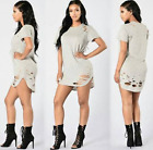 Women Ripped  Long T-Shirt Dress O Neck Short Sleeves Distressed Casual Top A