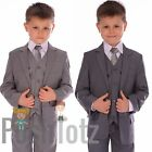 Boys Suit Fitted Grey Wedding Pageboy Suits 5pc Mid Grey, Light Grey, Poshtotz