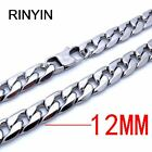 6/8/12mm Mens Stainless Steel Necklace Curb Cuban Link Chain Fashion Jewerly