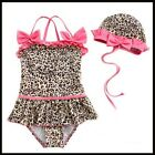 BABY GIRL SWIMSUIT SWIMMING COSTUME ONE PIECE LEOPARD PRINT PINK RUFFLES 2-7Y