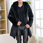 Men's 2017 Real Rabbit Fur Trench Coats With Hoodies Black Long Jacket Warm Coat
