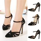 Women Pointed Toe Stiletto Strappy Black Party High Heel Ankle Boot Wedding Shoe