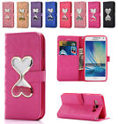 Heart Bling Liquid Glitter Lether Wallet Case Cover for Samsung A3 A5 A7 A8 A9