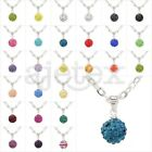 Multicolor Czech Crystal Rhinestones Disco Ball Necklace Pendant Chain Hot