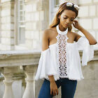Women Off Shoulder Lace Crochet Halter Neck Long Sleeves Tops Blouses Tee Shirts