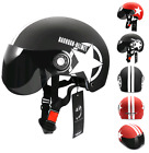 Motorcycle Bike Scooter Half Helmet Eyes Proof Glass Style Safety Hard Open Face