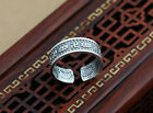 999 Sterling Silver Namaste Lotus 卍 Adjustable Band Ring size 8 Men Women A3824