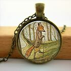 Glass Dome Jewelry Fox Necklace Woodland Creature Watercolor Art Pendant For