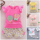 2pc baby girl clothes summer Tee +short pants kids girls casual outfits lolly