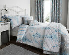 Reversable Duvet Cover Set with Pillow Case Bedding Sofia Flower Design Duck Egg
