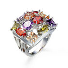 Women Colorful Sapphire White Gold Filled Engagement Ring Size 6 7 8 9 Rings