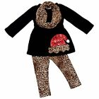 Girls Leopard Animal Print Santa Christmas Outfit Holiday Photo 2t 3t 4t 5 6 7 8