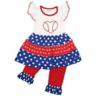 Unique Baby Girls Patriotic Baseball 2-Piece Legging Set Outfit