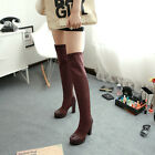 Womens Super High Heels Platform Slip On faux Suede Winter Knees High Boots