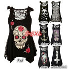 Women Skull Print Loose Lace Patchwork Bandages Casual Sleeveless Tops AU