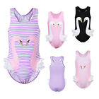 Cute Girls One Piece Swimsuits Sleeveless Swan Lace Swimwear Beachwear Sunsuit