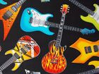 Electric Guitars Fabric Multicolor Quilting Timeless Treasures BTY BTHY FQ