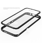 Tempered Glass Back Cover Aluminum Bumper Transparent Case f Galaxy S8 / S8 Plus