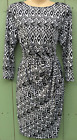 Womens Black White Geo Print Vintage 40s Mock Wrap Pencil Dress 10/12 14/16