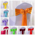 Satin Chair Cover Sash Bows Baby Shower Anniversary Banquet Wedding Decor Untied