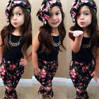 3pcs Kids Baby Girls Floral T-shirt Tops + Pants + Headband Outfits Clothes Set