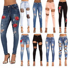 Womens Ripped Rose Jeans Ladies Flower Embroidered  Skinny Fit Denims Size 6-14
