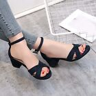 All US Size Womens Ankle Strap Sandals Block Mid Heel Faux Suede Date Pump Shoes