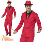 Mens Red Zoot Suit Gangster Costume 1920s Mafia Fancy Dress Outfit
