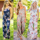 UK Womens Straps Loose Floral Playsuits Ladies Tops Trouser Casual Long Jumpsuit