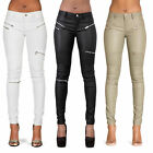 NEW WOMEN WHITE LEATHER LOOK BIKER TROUSERS STRETCHY FIT SIZE 6 8 10 12 14