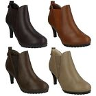 LADIES WOMENS SPOT ON HIGH HEEL PULL ON SMART CASUAL ANKLE BOOTS F5965