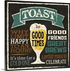 Toast to Good Times Canvas Wall Art Print, Beer Home Decor