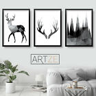 Mono GEOMETRIC Stag Deer Mountain SET of 3 Wall Art PRINTS pictures Home Decor