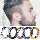 2x Unisex Huggie Hoop Nose Earrings Jewellery Round Ear Snap Men's Silver Thick