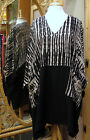 Dairi Moroccan V-Neck Long Tunic Bamboo Print Top 2 Pockets One Size Style 2126