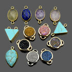 Natural Gemstones Pendant Round Oval Bracelet Necklace Connector Charm Beads