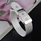 Elegant 925 Silver Cuff Bracelet Bangle Chain Wristband Women Fashion Jewelry