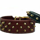 Wide Heirloom Spiked Leather Pet Dog Collar - Burgundy