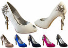 Womens Sabatine Diamante Satin High Heels Bridal Prom Shoes Sz Size 3 4 5 6 7 8